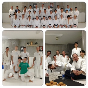 training with Sonoda Shihan and his students during a regular class (top), fulltime kenshusei training (low left), and weekend kenshusei training (low right).