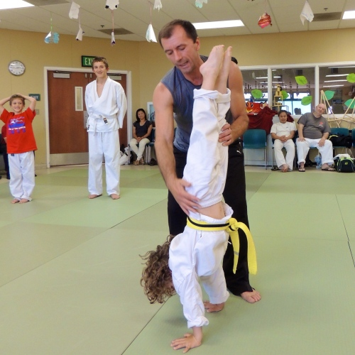 Aikido students learning the handstand to overcome their fear of being upside down.